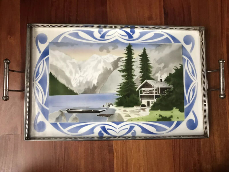VTG Art Nouveau Czechoslovakian Porcelain Serving Tray With Metal Facing