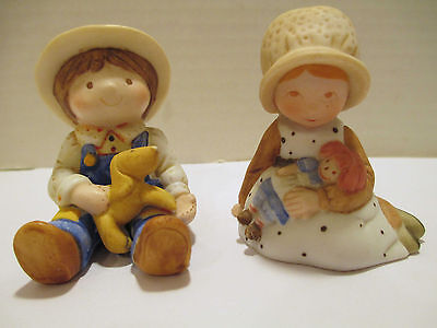 Pair Vintage Holly Hobbie Figurines Little Girl & Rag Doll, Little Boy & Puppy