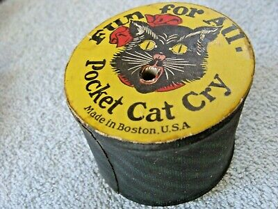 Antique Halloween Black Cat Noisemaker Squeaker Pocket Cat Cry Cardboard Vintage