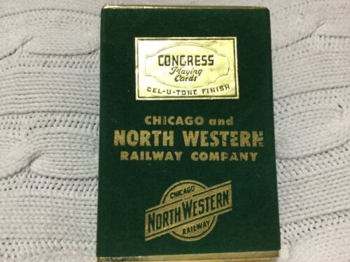 CHICAGO & NORTH WESTERN RAILWAY COMPANY CEL-U-TONE FINISH PLAYING CARDS