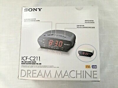 NIB ~SONY ICF-C211 Dream Machine AM FM Red LED Alarm Snooze Clock Radio Black