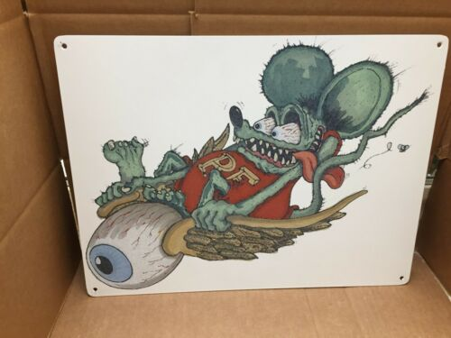 """BIG DADDY ED ROTH RAT FINK METAL SIGN """" FLYING ON THE EYE BALL""""  16"""" X 12"""""""