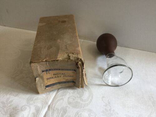 Antique Glass Breast Pump w Rubber Suction Bulb ~ US Rubber Company No 928