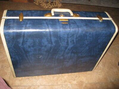 Vintage Samsonite deep marbled blue luggage suitcase
