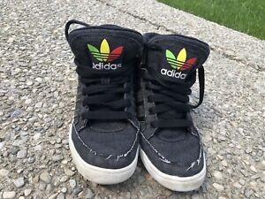 Adidas canvas high top black shoes 5.5 Y
