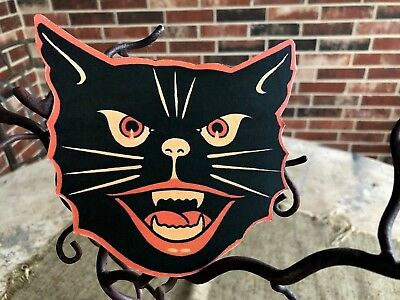 Vintage Halloween Cat Faces (Vintage Repro Luhrs Cat Face, Red Black, Fangs Halloween Cardstock)