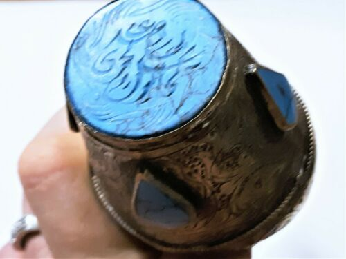 Antique Persian Islamic Turquoise Intaglio Oversized Silver Ring Size ~ 15