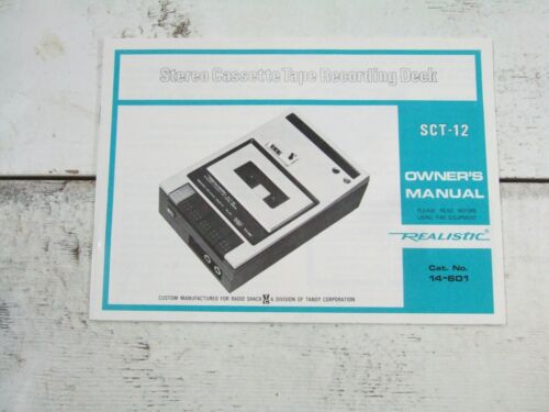 Vtg Realistic Stereo Cassette Tape Recording Deck Manual #SCT-12 Instructions
