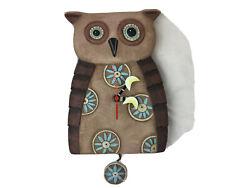 Older Style Brown Allen Designs Old Blue Owl Pendulum Wall Clock