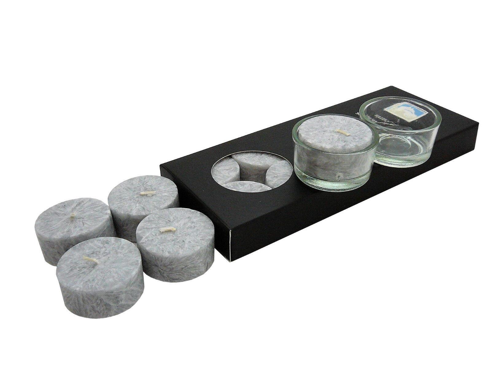 10 Stearin Teelichter Grau ohne Hülle Kerzenfarm Hahn inkl. 2 Glashalter