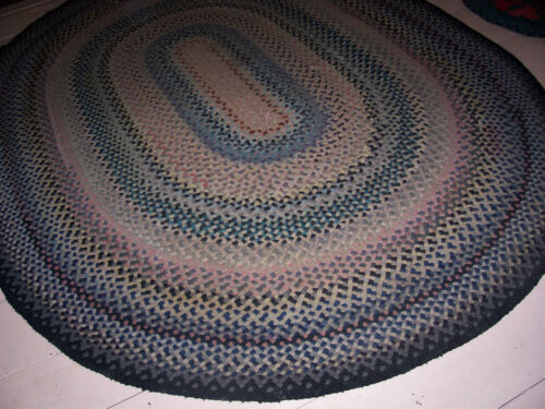 Vintage Large Antique Hand Made Oval Wool  Braided Rug 7