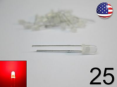 25pcs 3mm Red Fog Led - Round - New Light Emitting Diode 25 Pack Diy Rc