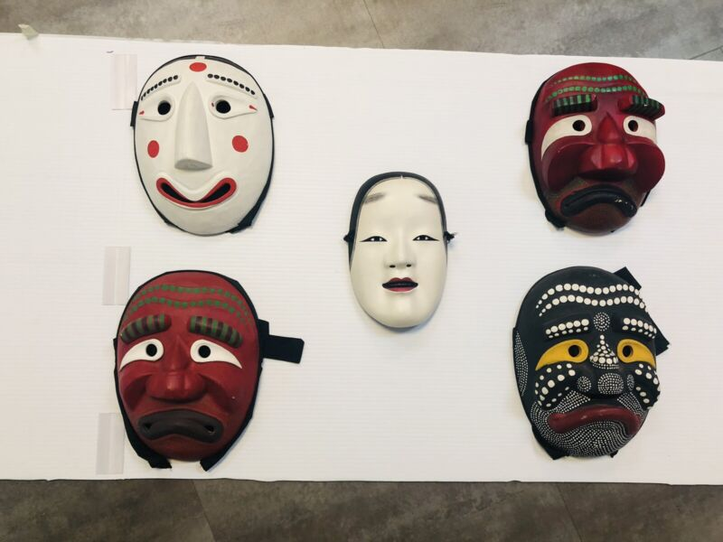 Asian Noh Ko Omote and Handcarved Wood Chinese Opera Masks Signed Lot of 5 Masks