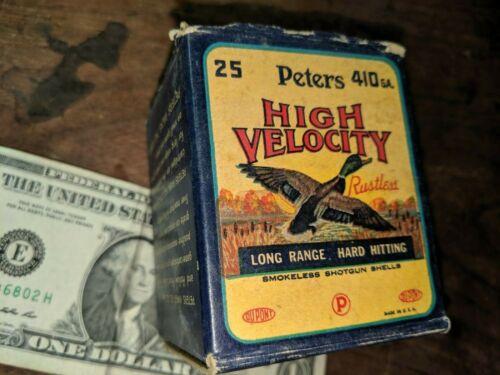 VINTAGE PETERS HIGH VELOCITY 410 GAUGE SHELL BOX / SMOKELESS and RUSTLESS