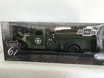 Highway 61 50187 Chevy Fire Truck US Army 1/16 Mint Boxed Rare