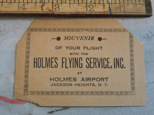 RARE 1930 HOLMES AIRPORT Flying Service Jackson Heights Queens New York City Tix