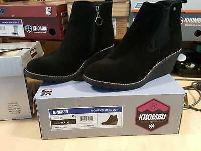 "Khombu ""Liz"" - Memory Foam Suede Leather Wedge Ankle Boots - Black Size UK 7"