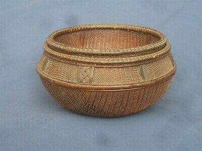 ANTIQUE 2 PART ORIENTAL RICE DRAINING BASKET, BEAUTIFULLY WOVEN ORNATE DETAIL