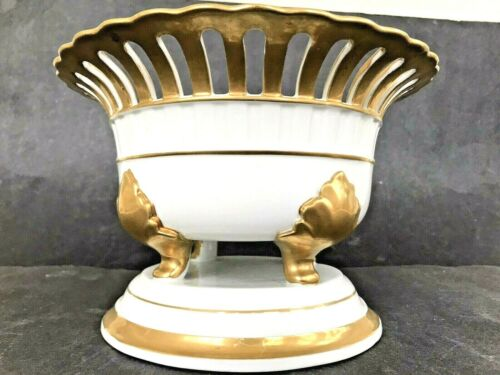 Jane Nutcheson Gorham Old Paris Compote Reticulated w/ Gold Leaf Pedestal Footed
