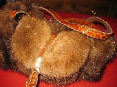 Borsa bauletto vera pelliccia di visone con tasca chiusura strass