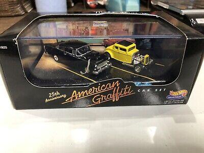 Hot Wheels 25th Anniversary American Graffiti 55 Chevy 32 Ford 2 Car Set 1:64