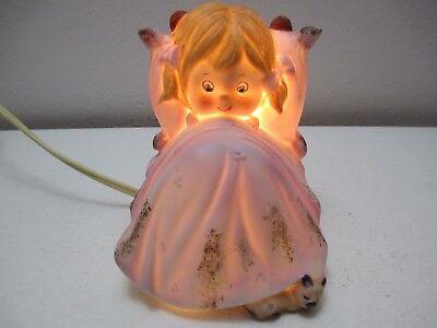"Vintage Lefton Girl in Bed w Sleeping Puppy Dog Night Light Lamp Japan 4 1/2"" T"