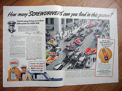 1939 Shell Oil Gas Ad  Royal Dutch Logo Cartoon Screwdriver 1939 Fishing Flys Ad