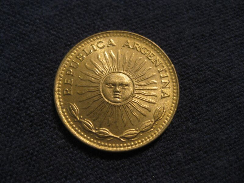 197_  Argentina One Peso coin  BLAZING SUNFACE   XF to AU sweet coins