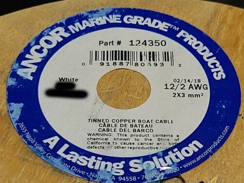 Ancor 12/2C Marine Grade Tinned Copper Flat Duplex Boat Cable (R+Y) White /25ft