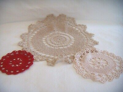Vintage 1950's 2 x Small 1 Large Handmade Crochet Cotton Doilies (p)