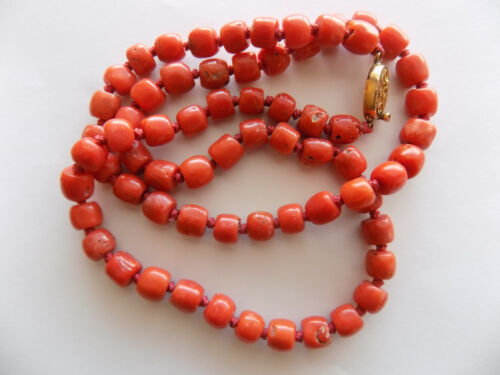 Vintage Untreated Salmon Red Natural Tibetan Coral Necklace Gilt Silver Clasps