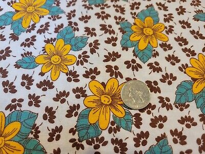 FULL Vintage feedsack: opened,  Golden Yellow and Brown Flowers