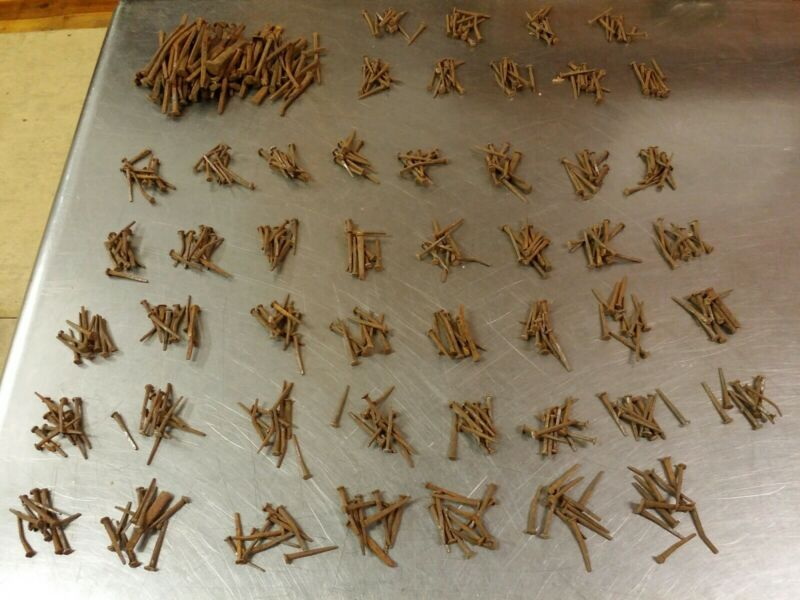 Lot of 562 Antique Cut Square Head Shaft Nails, Used Oxidized, Various Sizes