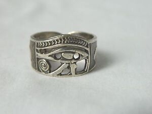 Egyptian Sterling Silver Eye Of Horus With Ankh Ring Adjustable