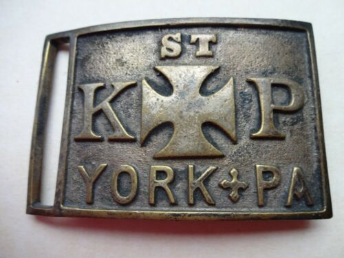 VINTAGE 1880S-1900S ST KP KNIGHTS OF PYTHIA YORK PA BELT BUCKLE W/ INSIGNIA 22