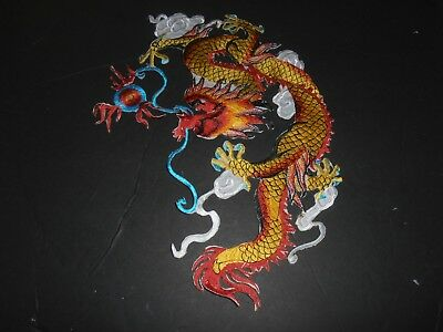 Fire breathing dragon iron on embroidered patch applique 10