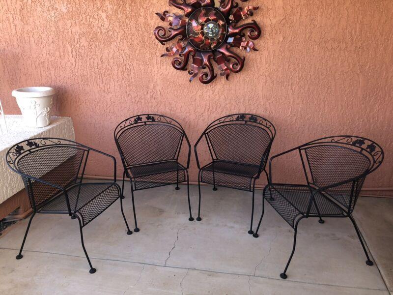 Vintage Authentic Woodard Iron Patio Chairs Armchair Barrel