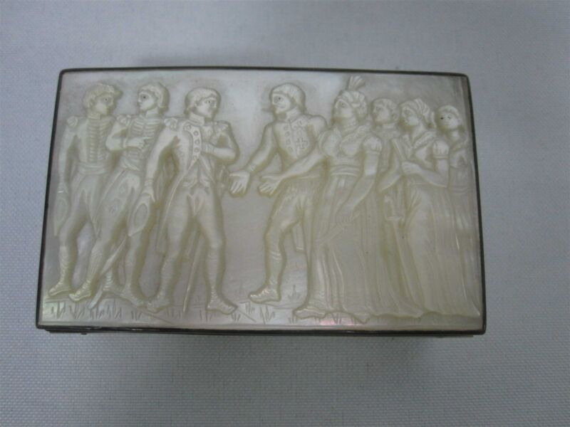 ANTIQUE CARVED MOTHER OF PEARL SILVER TRINKET BOX w NAPOLEON SCENE