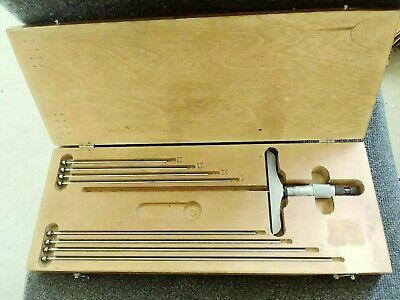 Starrett 445 4 Base 0-9 Depth Micrometer In Wood Case With 9 Rods Set Kit