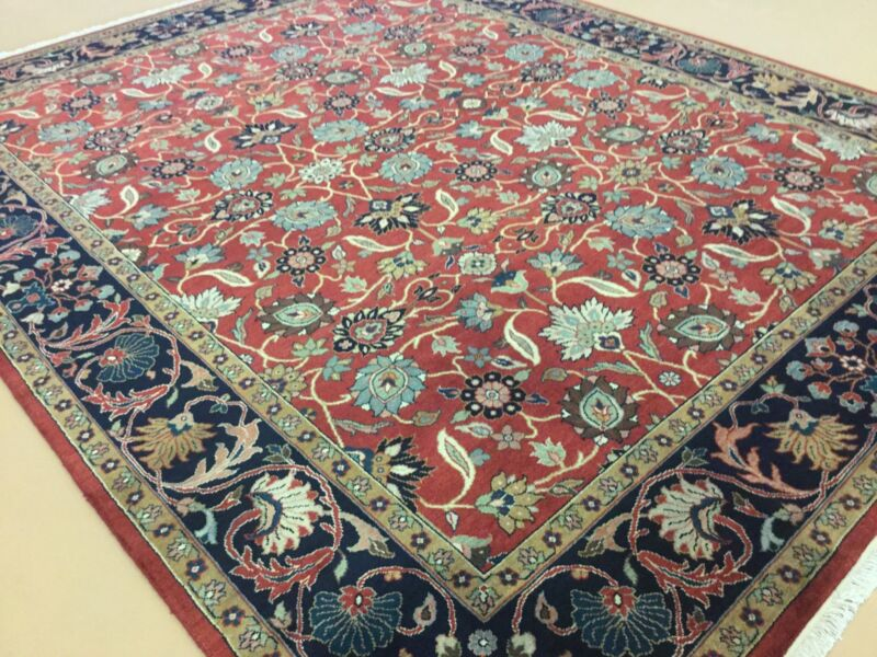 8 X 10 Rust Navy Blue Sultanabad Persian Oriental Area Rug Hand Knotted All Over