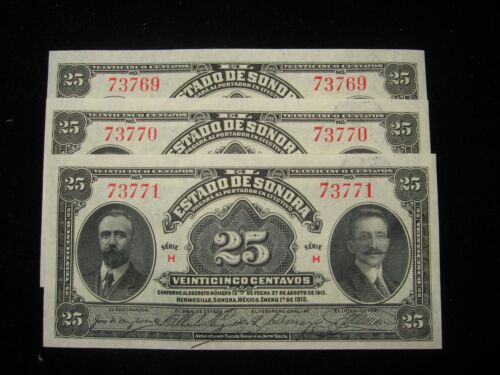 1915 MEXICO SONORA 25 CENTAVOS BANKNOTE SUPER NICE!!!!! ONE (1) NOTE ONLY  X105