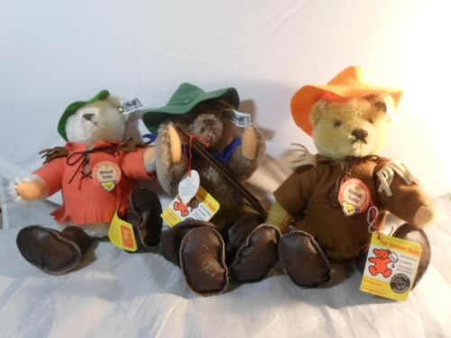 3 Vintage Steiff Nimrod Campfire Hunter Teddy Bears Jointed With Button & Tag