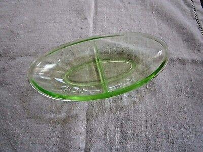 Relish Divided Dish Uranium VASELINE Green Depression Glass 9.25X4.5