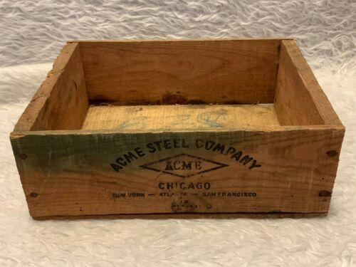 """Vintage Acme Steel Company Chicago Wooden Crate 8.5""""x11""""3.75"""""""