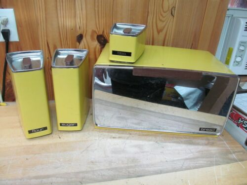 Bread Box + Kitchen Canisters Vintage Lincoln BeautyWare Yellow Metal Retro MCM