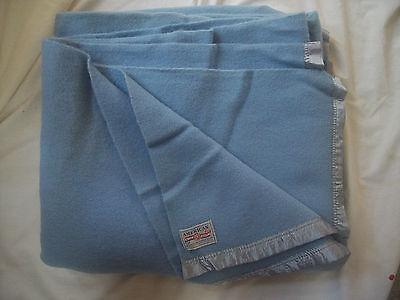 Vintage AMERICAN BLUE ALL WOOL BLANKET - Satin edges - American Woolen Co.