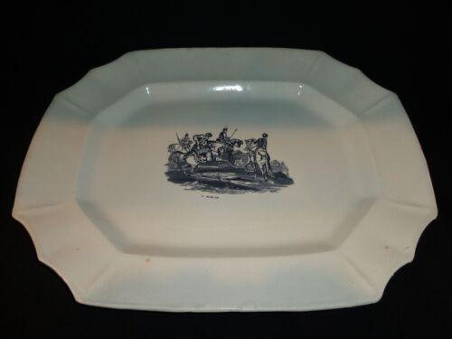 Antique 19th.c Black Transferware Ironstone Platter, Asian Design