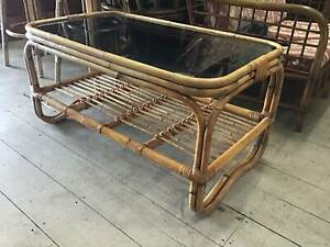 Vintage Retro Cane Wicker Coffee Table 2 Tier Glass Top