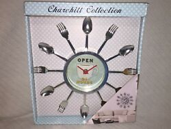 CHURCHILL COLLECTION 11.5  KITCHEN WALL CLOCK OPEN 24 HOURS Spoons & Forks