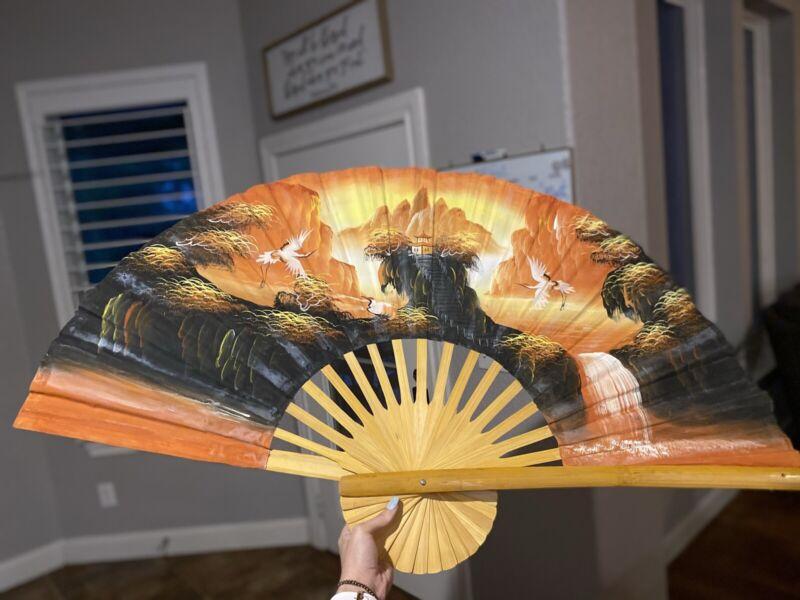 Large Vintage Oriental Hand Painted Fan Decorative Wall  Art